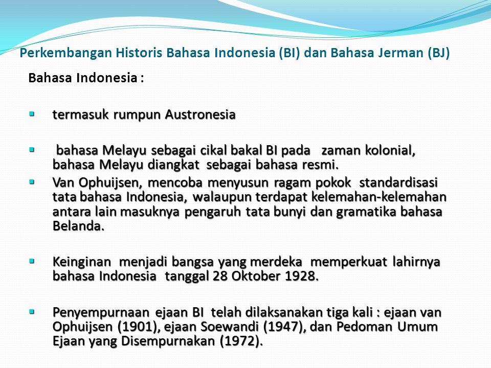 Perkembangan Historis Bahasa Indonesia (BI) dan Bahasa Jerman (BJ)