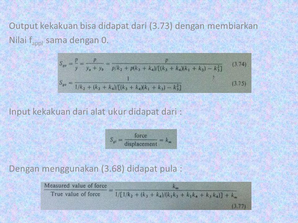 Output kekakuan bisa didapat dari (3.73) dengan membiarkan