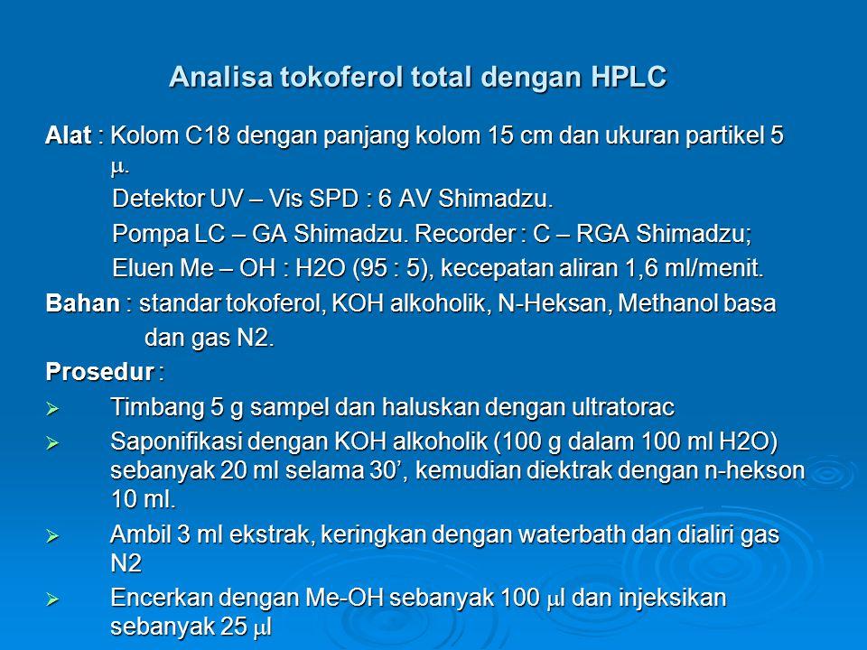 Analisa tokoferol total dengan HPLC