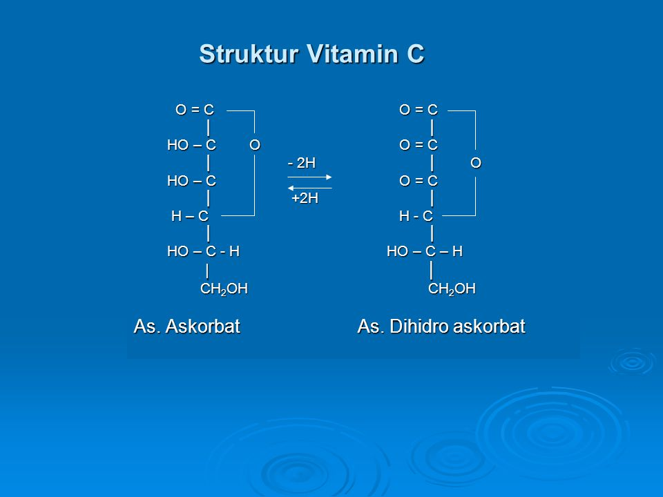 Struktur Vitamin C As. Askorbat As. Dihidro askorbat O = C O = C │ │