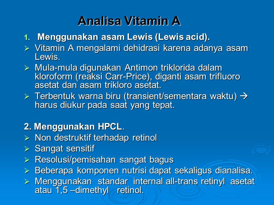 Analisa Vitamin A Menggunakan asam Lewis (Lewis acid).