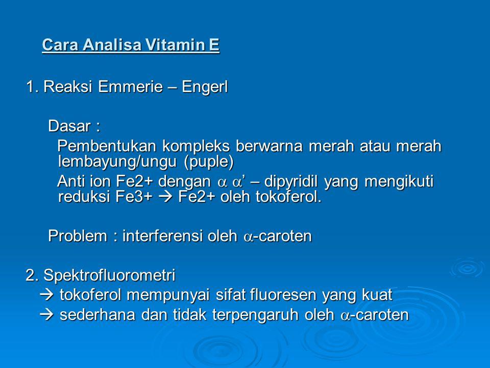Cara Analisa Vitamin E 1. Reaksi Emmerie – Engerl. Dasar : Pembentukan kompleks berwarna merah atau merah lembayung/ungu (puple)