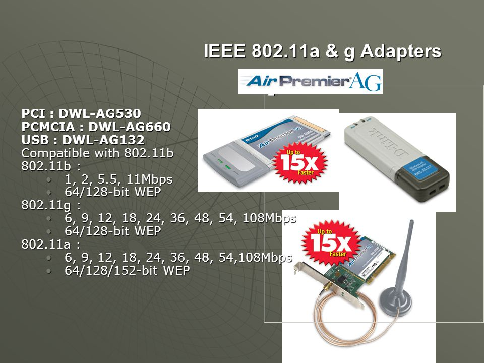 IEEE 802.11a & g Adapters PCI : DWL-AG530 PCMCIA : DWL-AG660