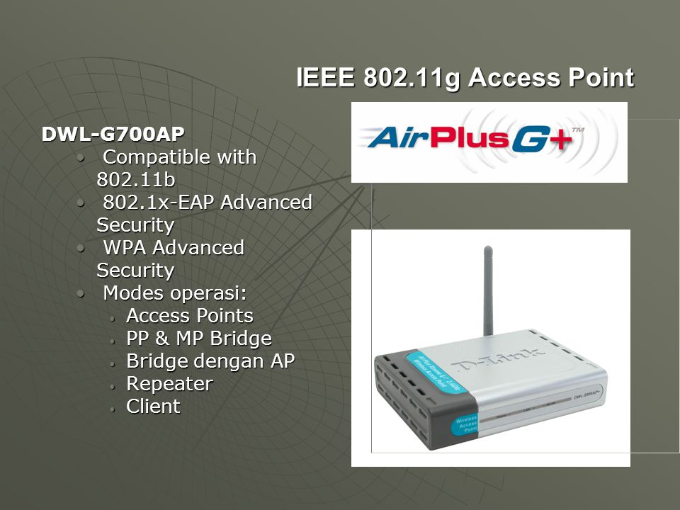 IEEE 802.11g Access Point DWL-G700AP Compatible with 802.11b