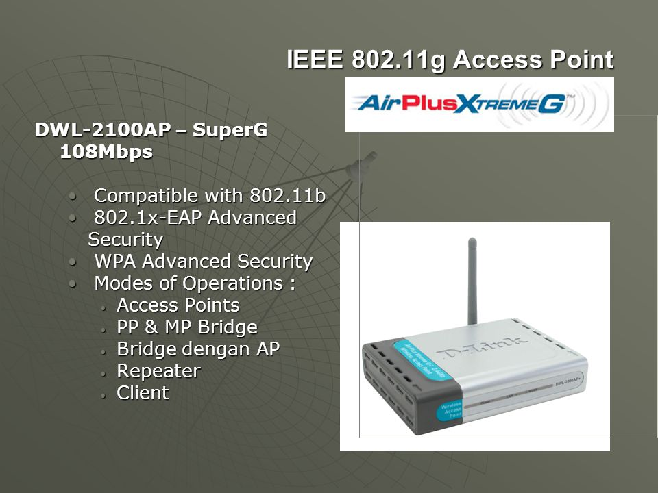 IEEE 802.11g Access Point DWL-2100AP – SuperG 108Mbps