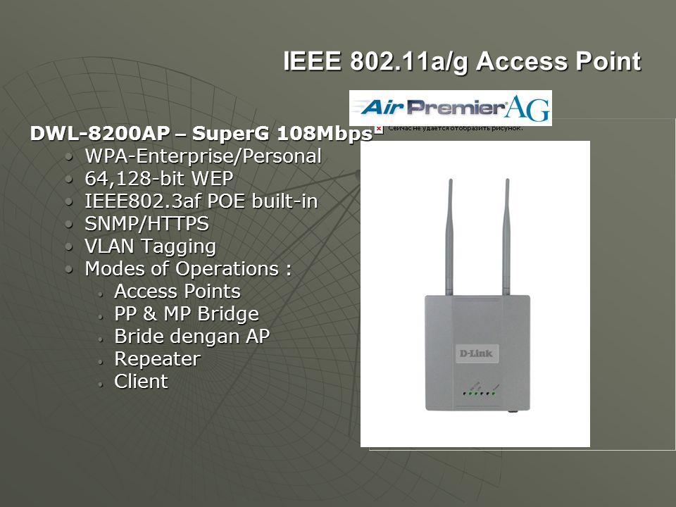 IEEE 802.11a/g Access Point DWL-8200AP – SuperG 108Mbps