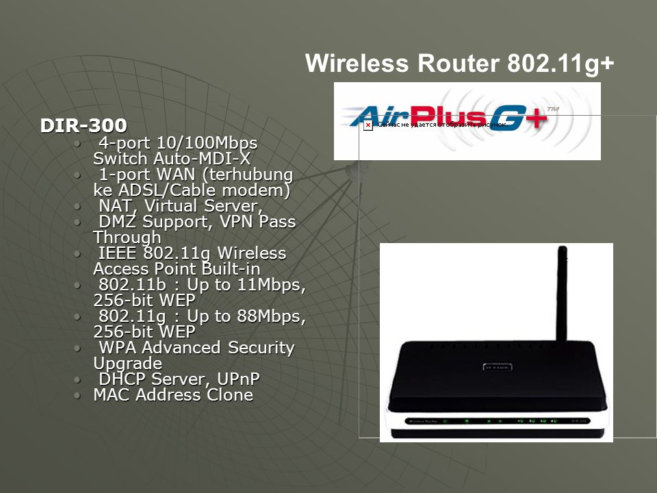 Wireless Router 802.11g+ DIR-300 4-port 10/100Mbps Switch Auto-MDI-X