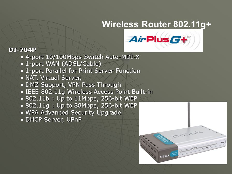 Wireless Router 802.11g+ DI-704P 4-port 10/100Mbps Switch Auto-MDI-X