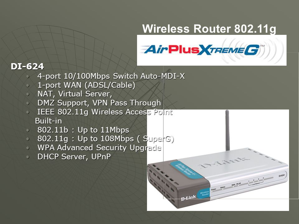 Wireless Router 802.11g DI-624 4-port 10/100Mbps Switch Auto-MDI-X