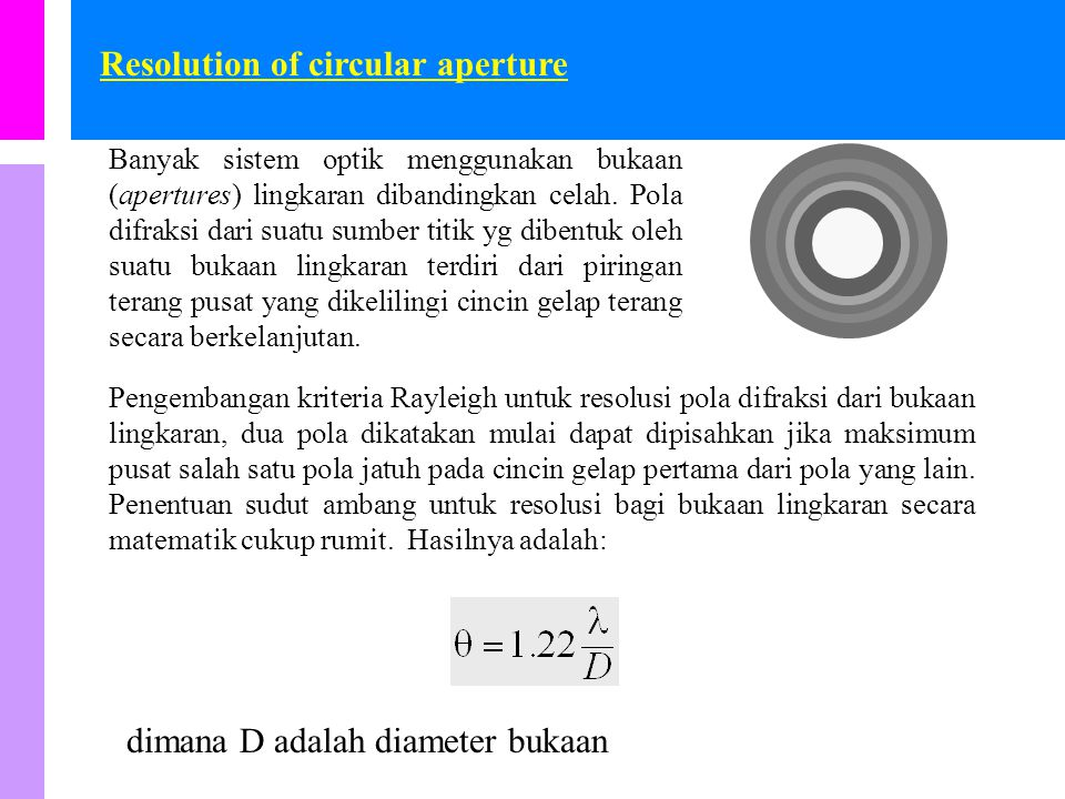 Resolution of circular aperture