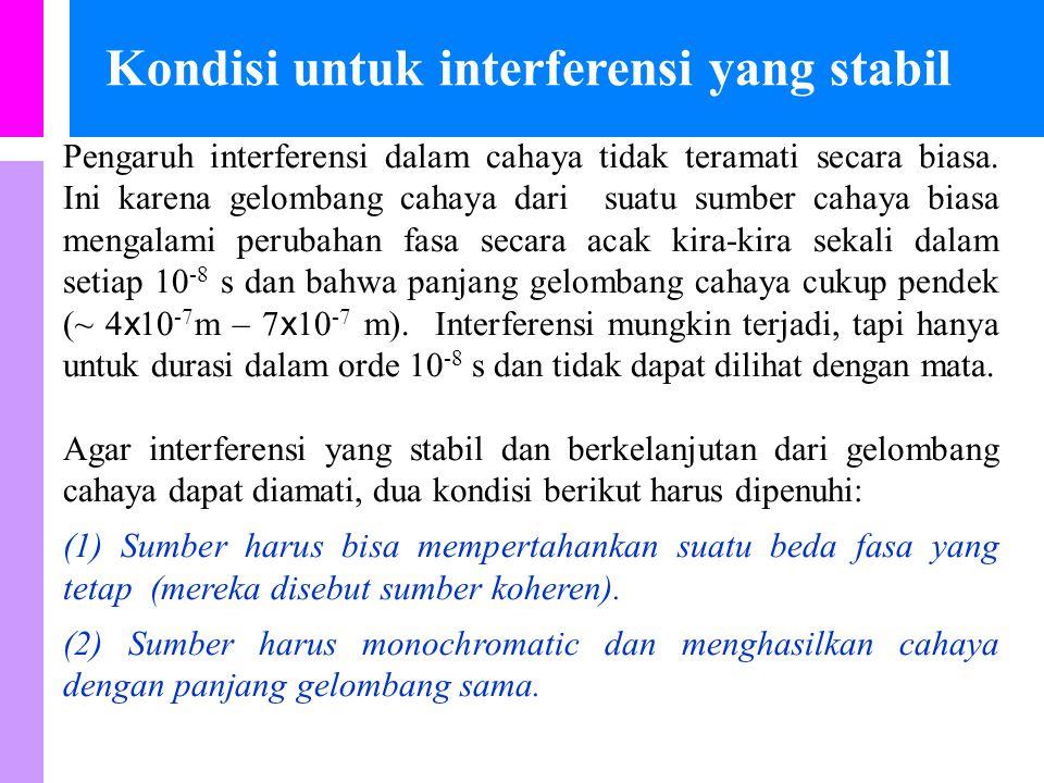 Kondisi untuk interferensi yang stabil