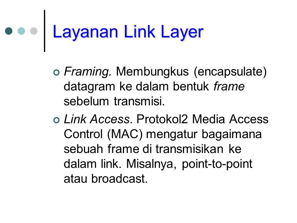 Layanan Link Layer Framing. Membungkus (encapsulate) datagram ke dalam bentuk frame sebelum transmisi.