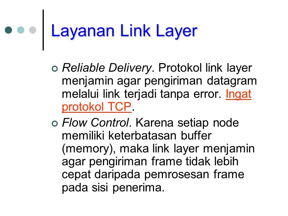 Layanan Link Layer Reliable Delivery. Protokol link layer menjamin agar pengiriman datagram melalui link terjadi tanpa error. Ingat protokol TCP.