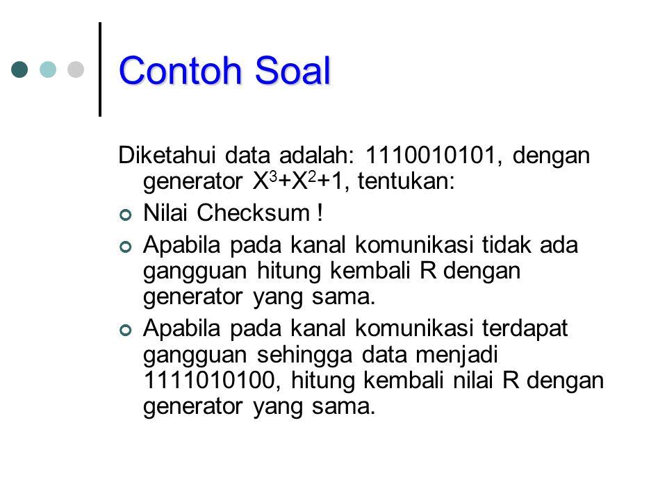 Contoh Soal Diketahui data adalah: 1110010101, dengan generator X3+X2+1, tentukan: Nilai Checksum !