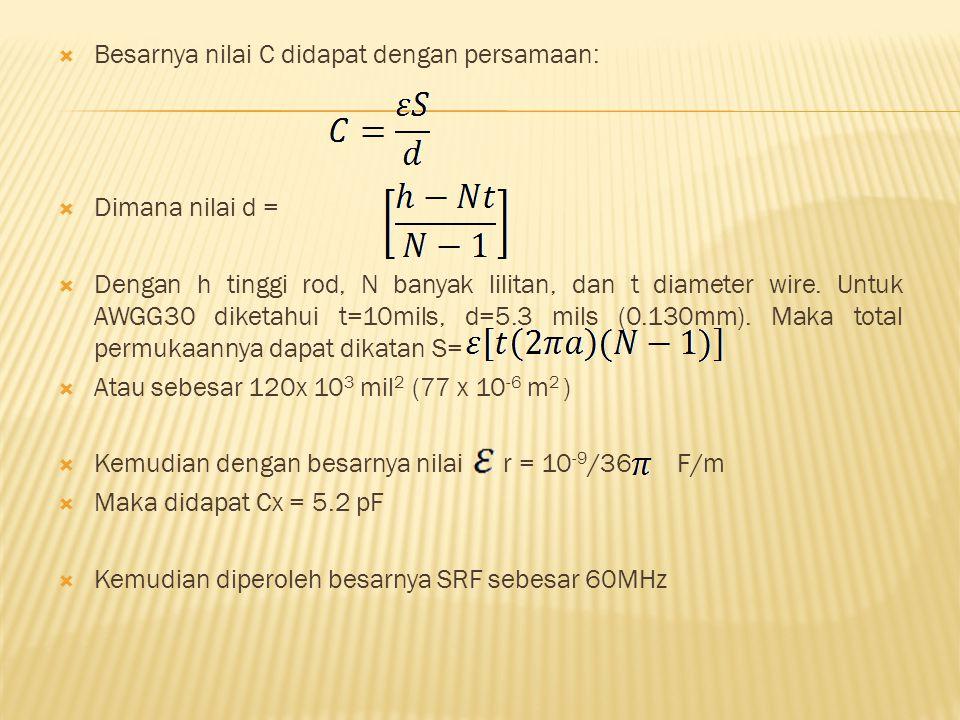 Besarnya nilai C didapat dengan persamaan: