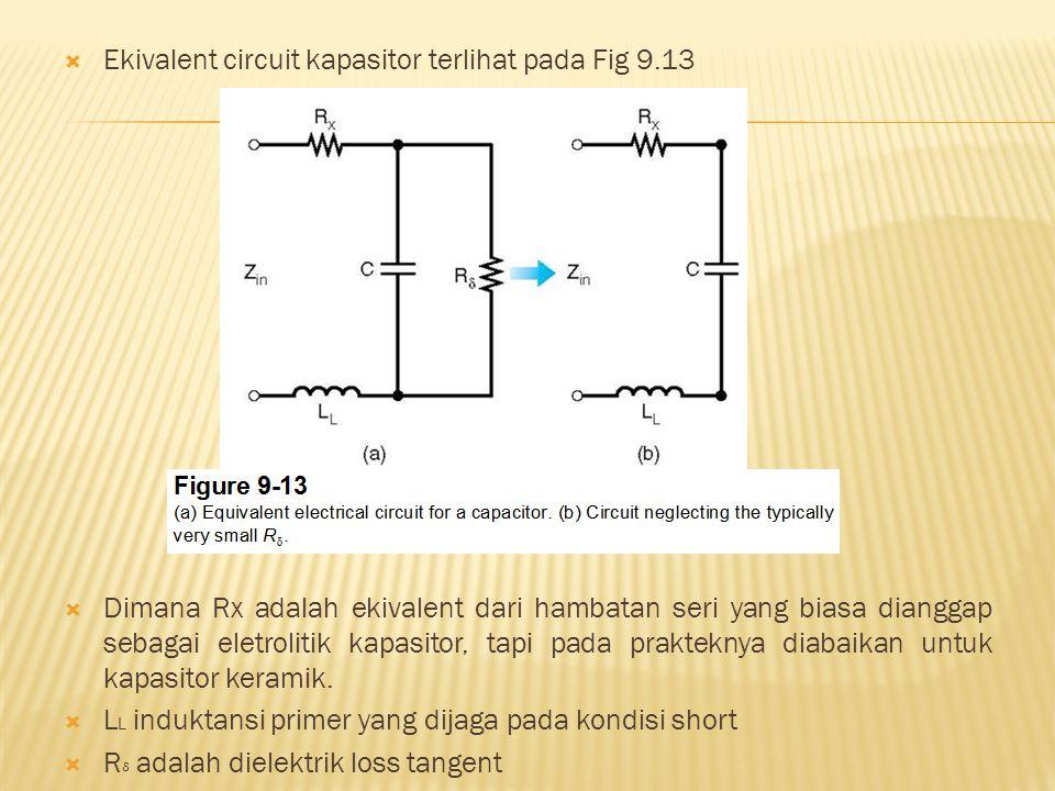 Ekivalent circuit kapasitor terlihat pada Fig 9.13