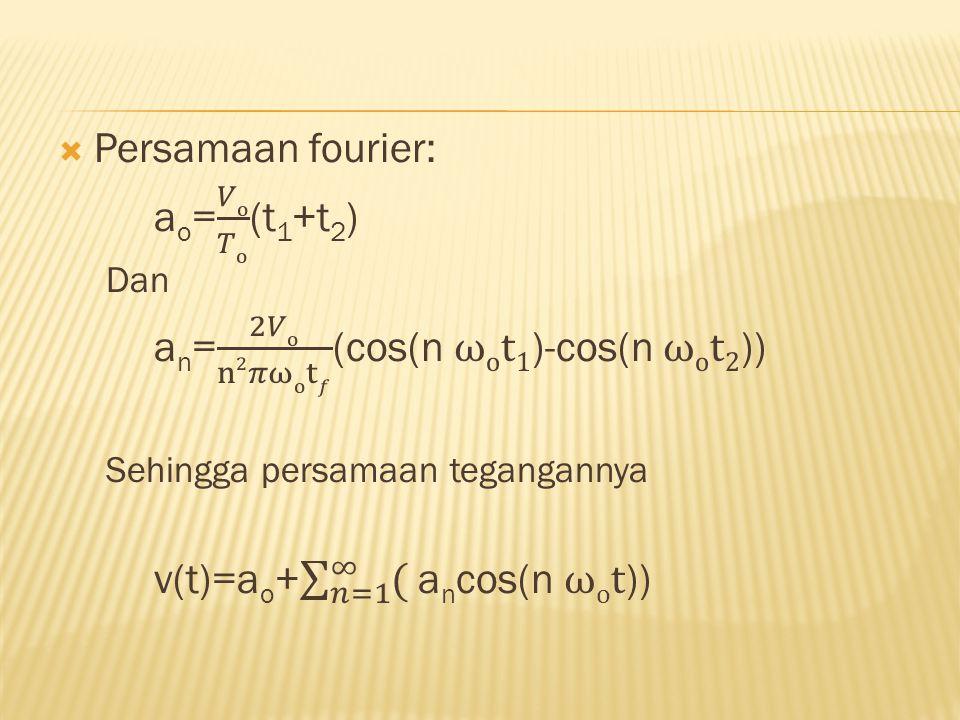 an= 2𝑉o n2𝜋ωot𝑓 (cos(n ωot1)-cos(n ωot2))