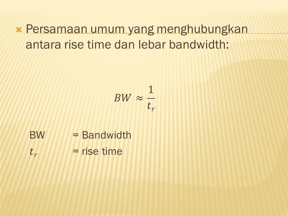 Persamaan umum yang menghubungkan antara rise time dan lebar bandwidth: