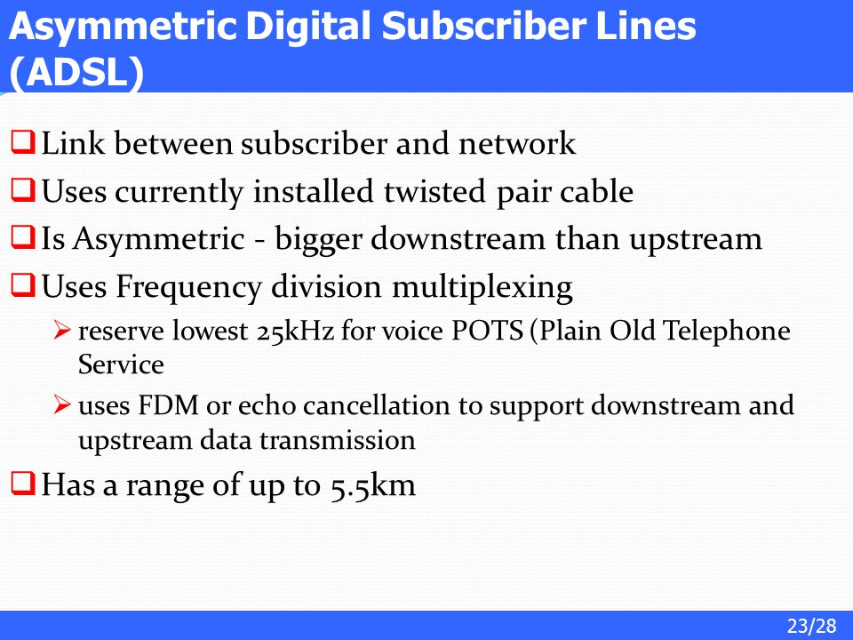 Asymmetric Digital Subscriber Lines (ADSL)