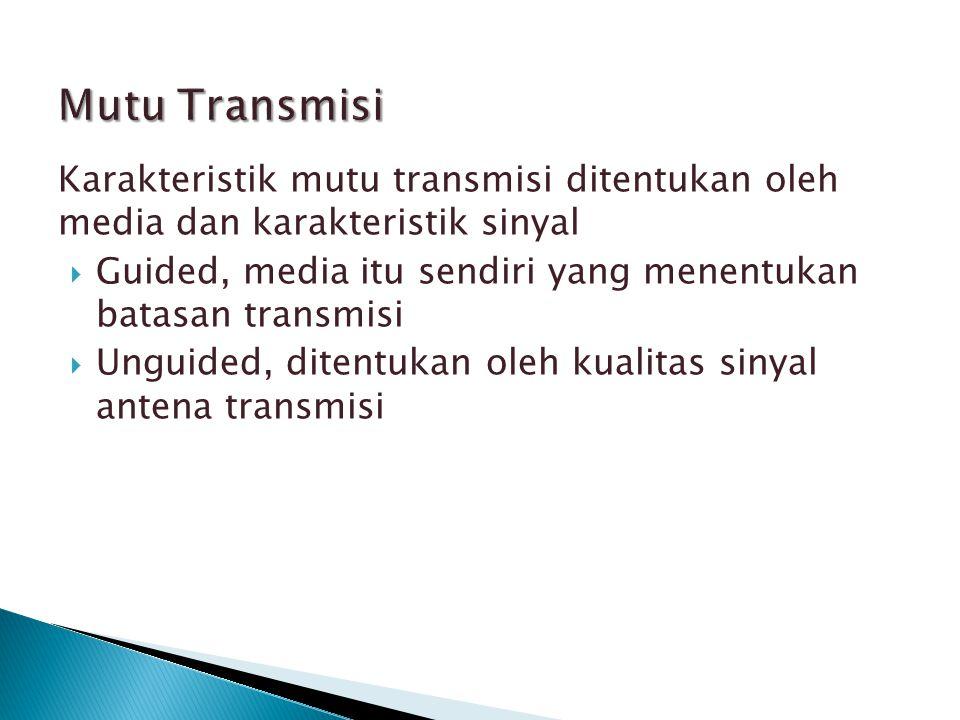 Mutu Transmisi Karakteristik mutu transmisi ditentukan oleh media dan karakteristik sinyal.