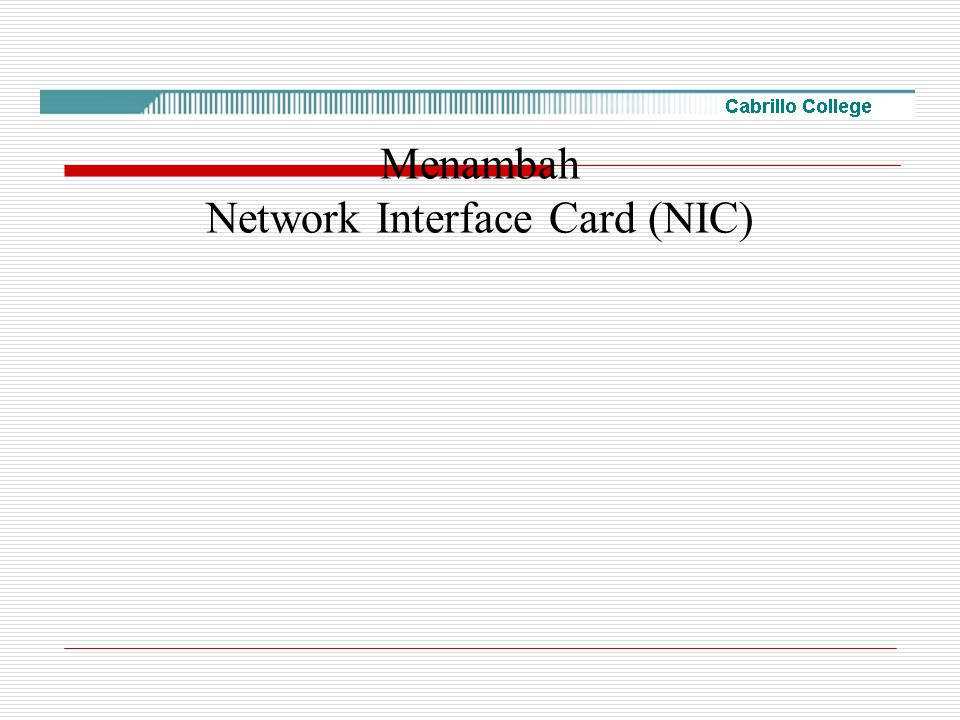 Menambah Network Interface Card (NIC)
