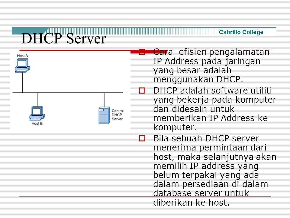 DHCP Server Cara efisien pengalamatan IP Address pada jaringan yang besar adalah menggunakan DHCP.