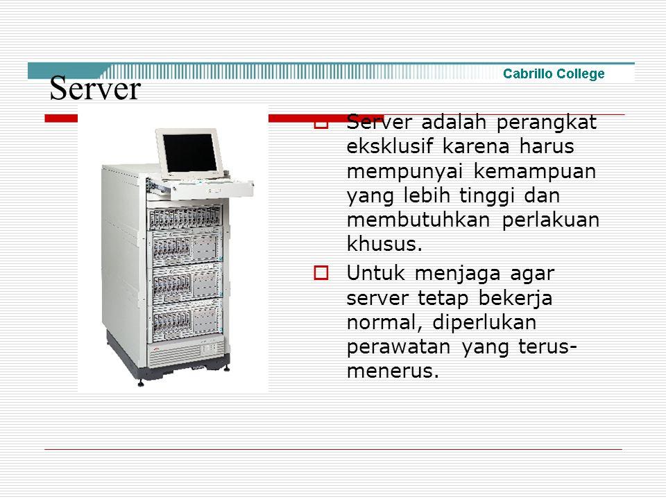 Server Server adalah perangkat eksklusif karena harus mempunyai kemampuan yang lebih tinggi dan membutuhkan perlakuan khusus.