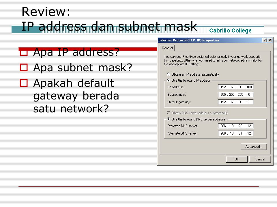 Review: IP address dan subnet mask