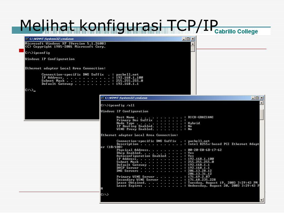 Melihat konfigurasi TCP/IP