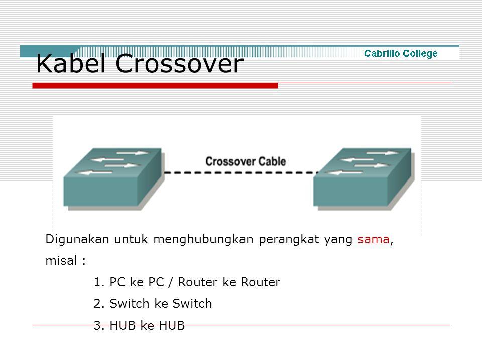 Kabel Crossover Digunakan untuk menghubungkan perangkat yang sama,