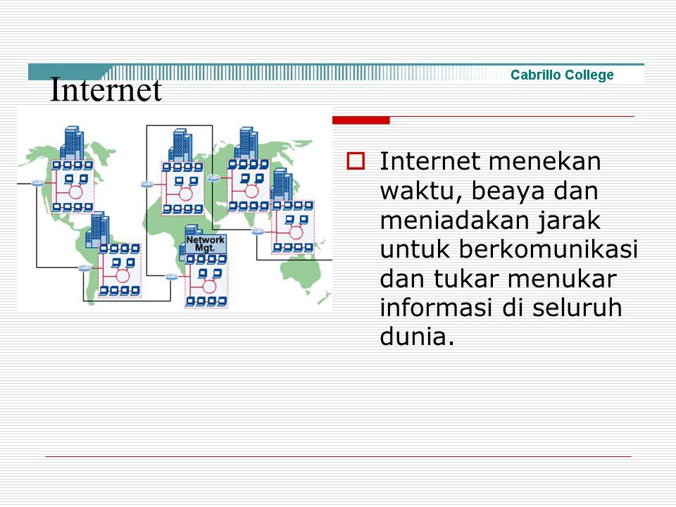 Internet Internet menekan waktu, beaya dan meniadakan jarak untuk berkomunikasi dan tukar menukar informasi di seluruh dunia.
