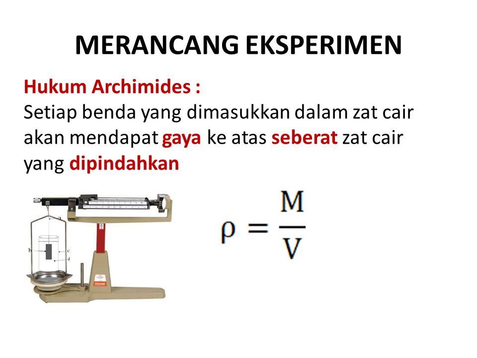 MERANCANG EKSPERIMEN Hukum Archimides :