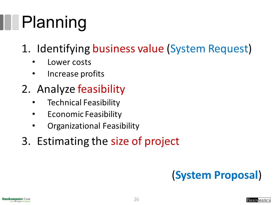 Planning Identifying business value (System Request)