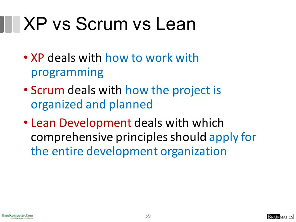 XP vs Scrum vs Lean XP deals with how to work with programming
