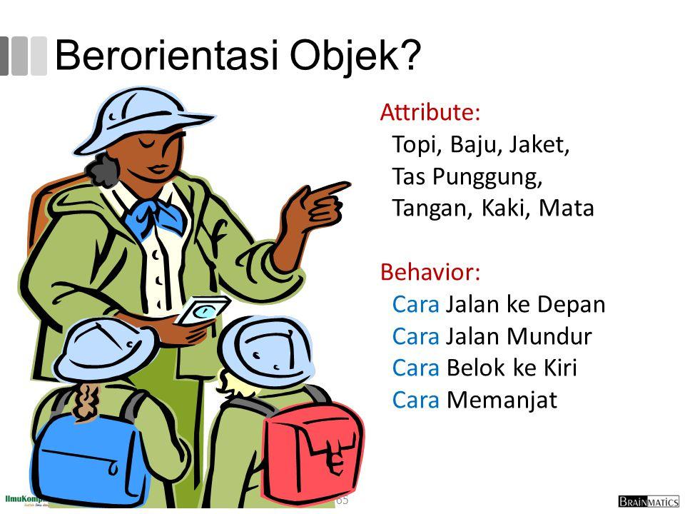 Berorientasi Objek Attribute: Topi, Baju, Jaket,