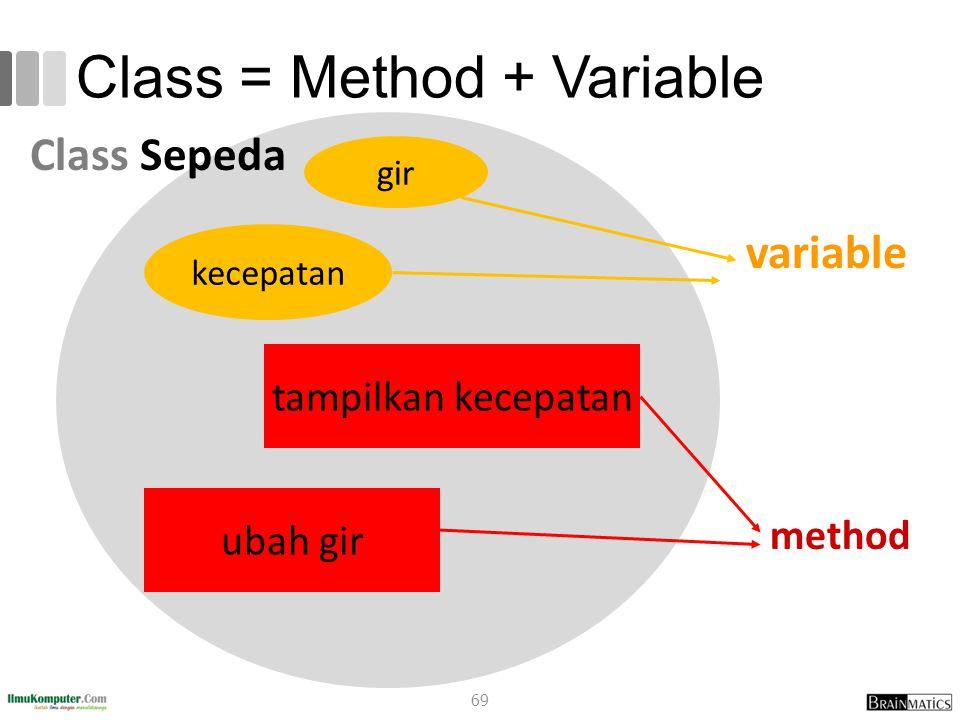 Class = Method + Variable
