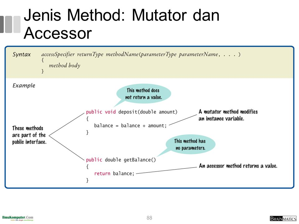 Jenis Method: Mutator dan Accessor