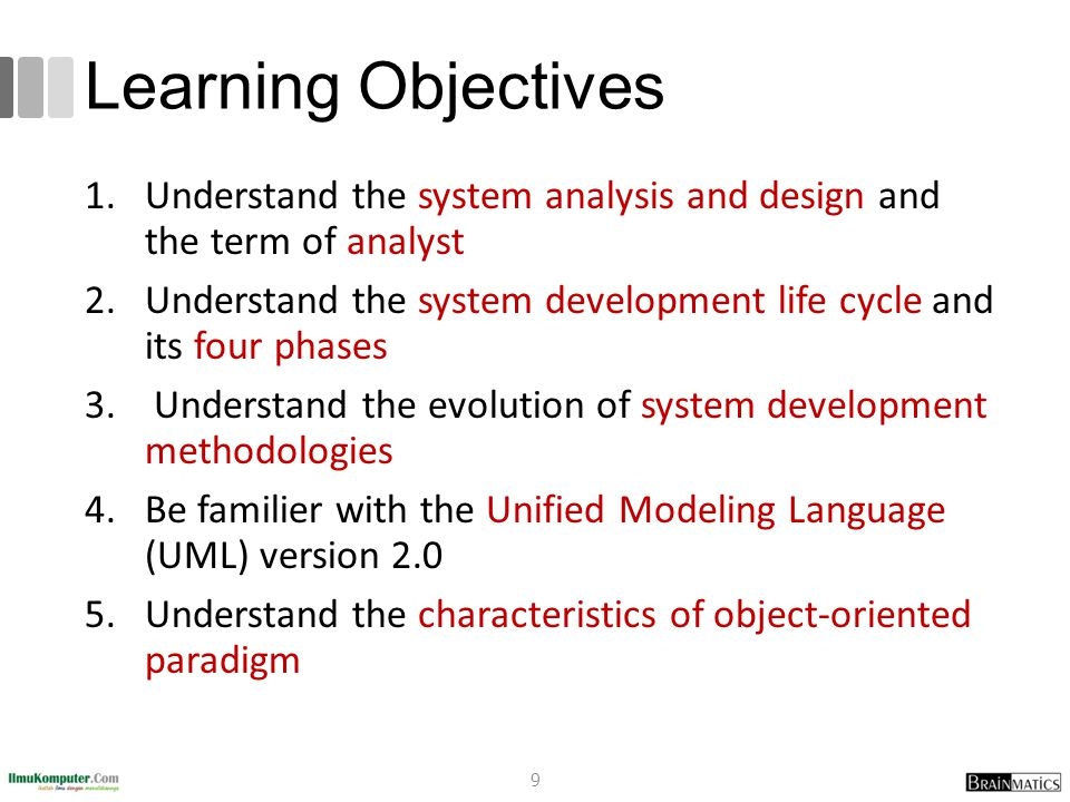 romi@romisatriawahono.net Object-Oriented Programming. Learning Objectives. Understand the system analysis and design and the term of analyst.