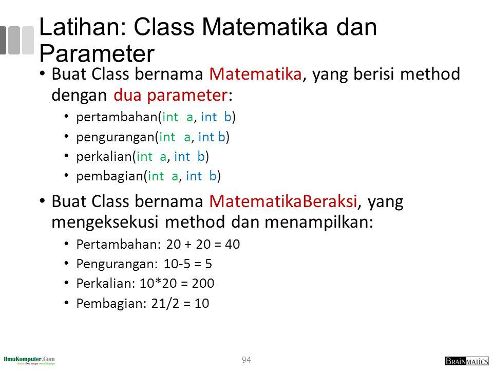 Latihan: Class Matematika dan Parameter