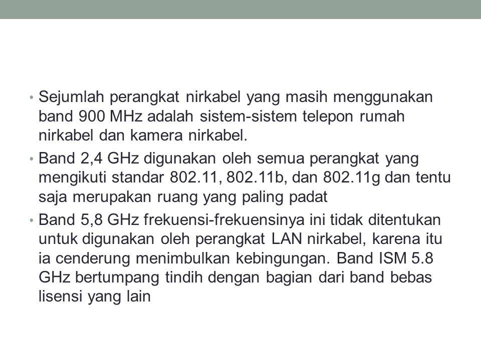 Sejumlah perangkat nirkabel yang masih menggunakan band 900 MHz adalah sistem-sistem telepon rumah nirkabel dan kamera nirkabel.