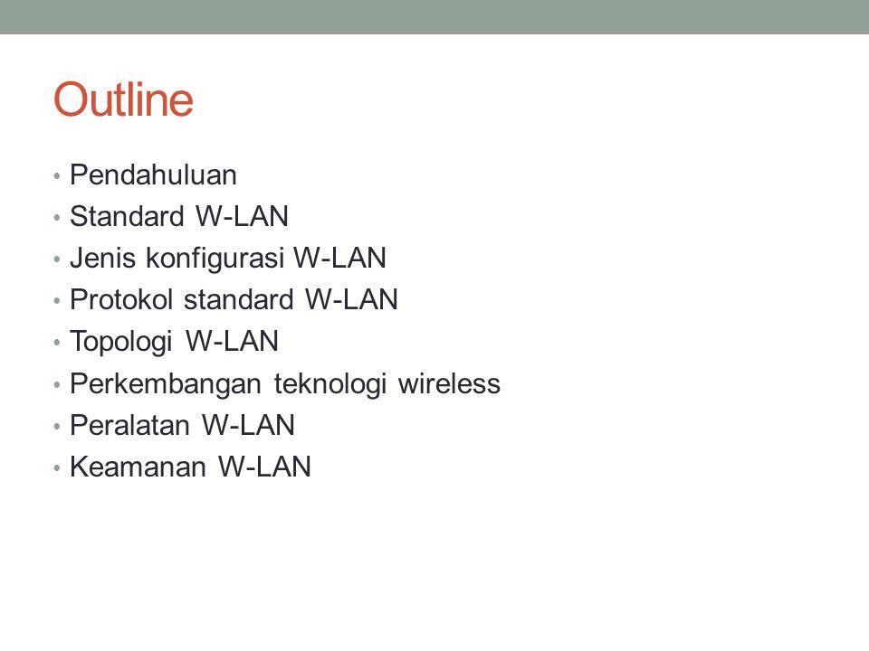 Outline Pendahuluan Standard W-LAN Jenis konfigurasi W-LAN