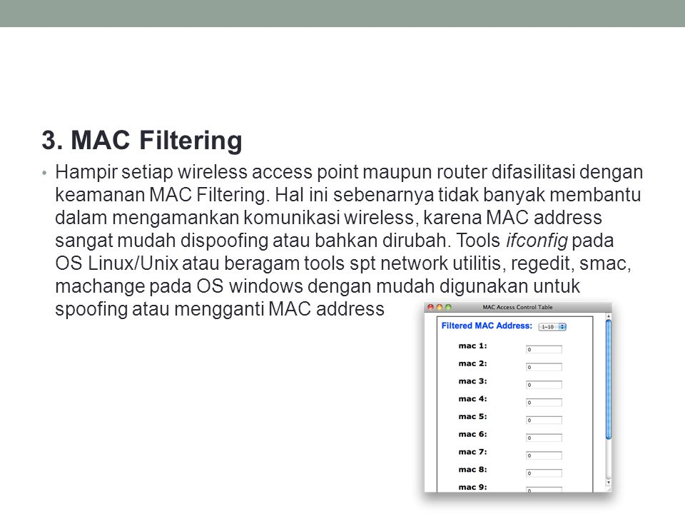 3. MAC Filtering