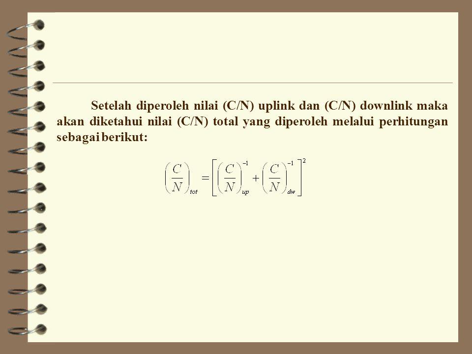 Setelah diperoleh nilai (C/N) uplink dan (C/N) downlink maka akan diketahui nilai (C/N) total yang diperoleh melalui perhitungan sebagai berikut:
