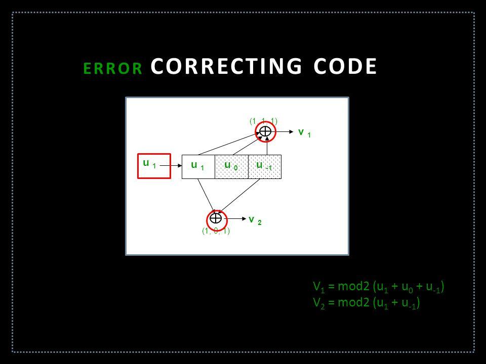 ERROR CORRECTING CODE V1 = mod2 (u1 + u0 + u-1) V2 = mod2 (u1 + u-1)