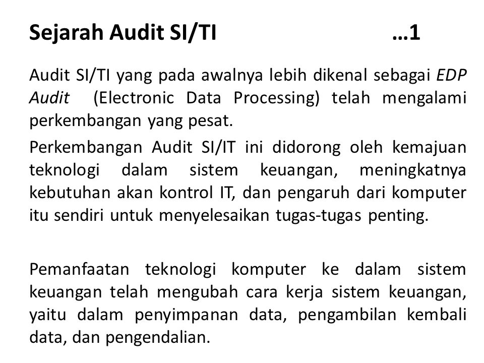 Sejarah Audit SI/TI …1