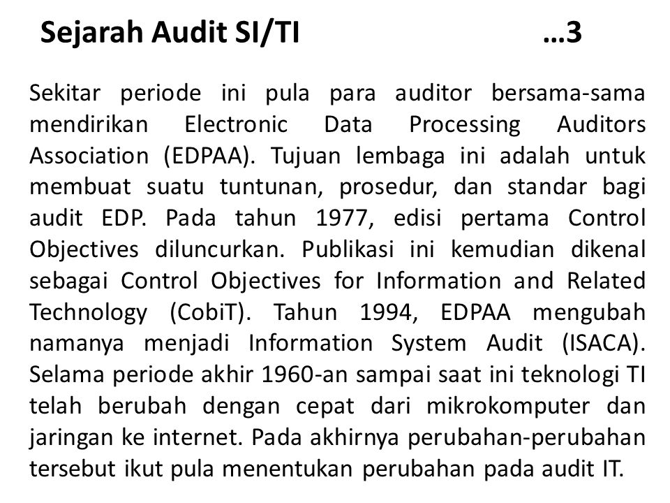 Sejarah Audit SI/TI …3