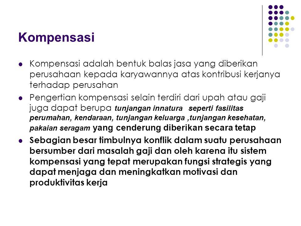 Kompensasi Kompensasi adalah bentuk balas jasa yang diberikan perusahaan kepada karyawannya atas kontribusi kerjanya terhadap perusahan.