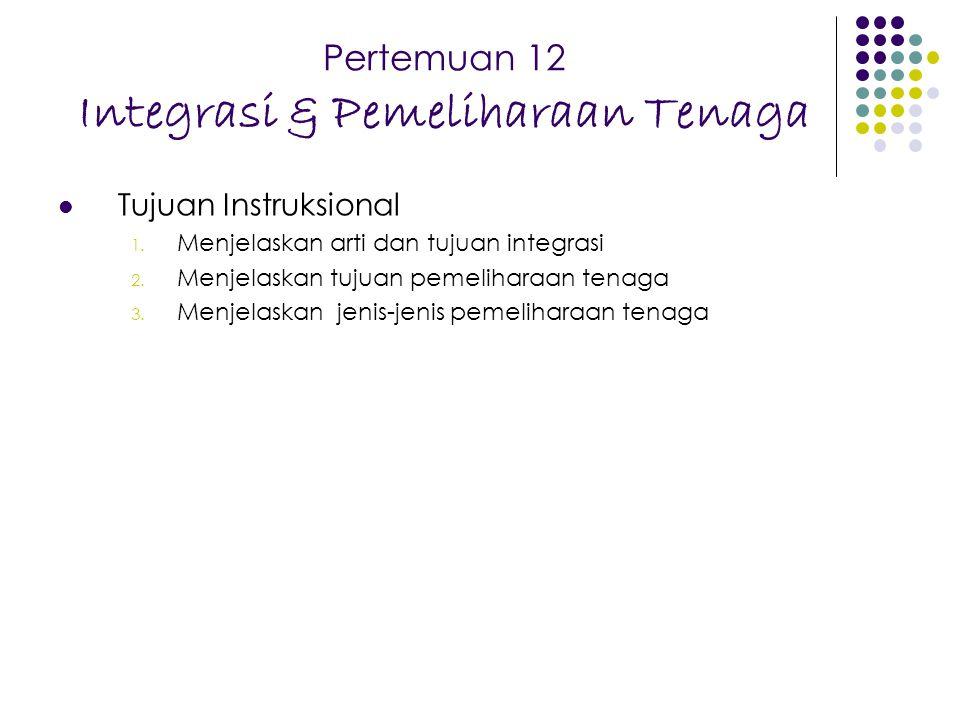 Pertemuan 12 Integrasi & Pemeliharaan Tenaga