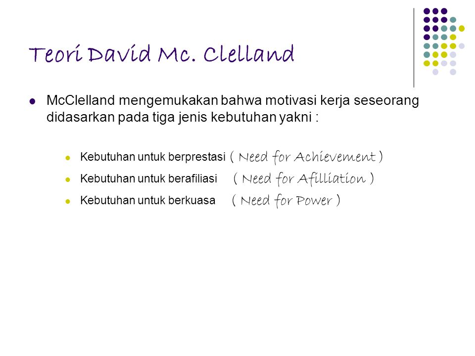 Teori David Mc. Clelland