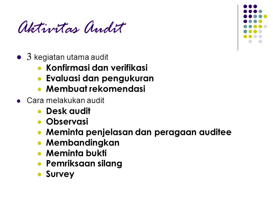 Aktivitas Audit 3 kegiatan utama audit Konfirmasi dan verifikasi